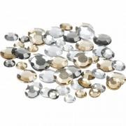 Merkloos Ronde strass steentjes zilver mix 360 stuks