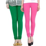 Stylobby Green and Baby Pink Leggings For Girls Pack of 2