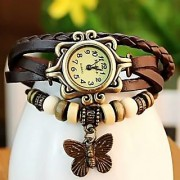 LEBENZEITVintage Watches For Women Genuine Leather Watch Bracelet Wrist Watch Brown Star KB441