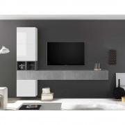 TV Wohnwand in Beton Grau und Hochglanz Weiß modern (7-teilig)