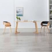 vidaXL Cadeira de jantar madeira curvada e couro artificial preto