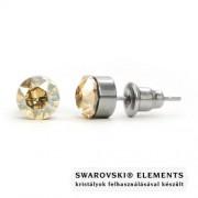 Jazzy arany színű SWAROVSKI® kristályos fülbevaló - Kerek foglalatos Golden Shadow