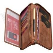 ABYS Rakshabandhan Gift-Genuine Leather Tan Travel Organizer||Passport Wallet||Card Case with Metallic Zip Closure(Tan)