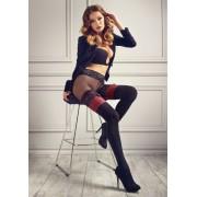 Patrizia Gucci for Marilyn - Heltäckande strumpbyxa i stay up-look med spetsresår nero-red M/L