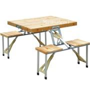 Masa pliabila cu 4 scaune de lemn pentru camping - picnic