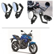 AutoStark 7/8 22cm Motorcycle Rear View Mirrors Handlebar Bar End Mirrors - Suzuki Gixxer