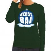 Shoppartners Foute kersttrui kerstbal blauw op groene sweater voor dames
