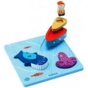 Drewniana układanka Rybak i wieloryb, trójwymiarowe figurki wieloryb, rybak i ośmiornica DJECO DJ01046