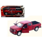 2017 Chevrolet Silverado 1500 Lt Z71 Crew Cab Metallic Red 1/27 Diecast Model Car by Motormax 79348