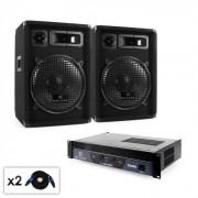 Malone Beat - Set PA 2.0 Amplificador, altavoces & cableado 800 W (PL-213-21665)