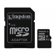 MicroSDHC KINGSTON 16GB Clase 10 C/Adaptador SD SDC10G2/16GB.