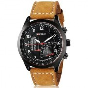 True Choice Round Dail Brown And Yellow Leather StrapMens Quartz Watch For Men