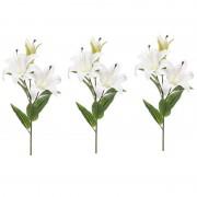 Shoppartners 3 Lilium candidum witte lelie kunstbloemen wit 78 cm