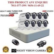 HIKVISION 2 MP 8CH DS-7108HQHI-F1 MINI Turbo HD 720P DVR + HIKVISION DS-2CE16DOT-IR TURBO BULLET CAMERA 8pcs CCTV COMBO