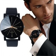 Lebenszeit Analog Quartz Black Round Dial Leather Strap Casual Watch For Men