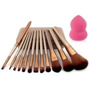 Imported Makeup Brushes Set Of 12 Eyebrow Foundation Powder Eyeliner Lip Brushes + 1 Beauty Blender Puff