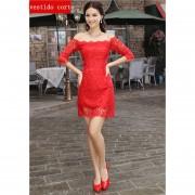 Mujer Vestido Corto con hombro especial de estilo elegante de encaje para Boda color Rojo