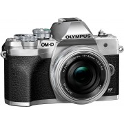 Olympus »E-M10 Mark IV« Systemkamera (M.Zuiko Digital ED 14‑42mm F3,5-5,6 EZ Pancake, 20,3 MP, Bluetooth, WLAN (WiFi), +BLS-50, F-5AC USB-AC Adapter, USB cable, Shoulder Strap), silberfarben