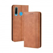 Samsung Magnetic Buckle Retro Crazy Horse Texture Horizontal Flip Leather Case for Galaxy M30 with Holder & Card Slots & Photo Frame(Brown)