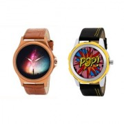 Gen-Z Trendy Graphic Leather Strap Pop Combo of 2 watches for Men GENZ-CO-COL-POP
