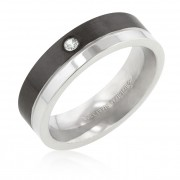 J. Goodin 6mm Two Tone Stainless Steel Slitaire Band Ring STR0086V-6M-C01-07
