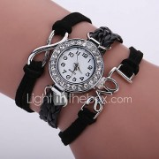 Dames Modieus horloge Polshorloge Armbandhorloge Kwarts Kleurrijk imitatie Diamond PU Band Vintage Glitter Bohémien Vrijetijdsschoenen