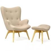Design Town Fotel z podnóżkiem - inspirowany proj. Grant Fatherston - beżowy