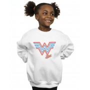 Absolute Cult DC Comics Girls Wonder Woman 84 Neon Emblem Sweatshirt Blanc 7-8 Years