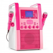 Auna KA8P-V2 PK Equipo de karaoke Reproductor de CD AUX 2 x Micrófono rosa