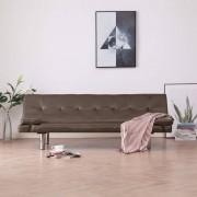 vidaXL Разтегателен диван с две възглавници, кафяв, изкуствена кожа