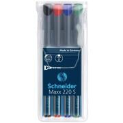 Universal permanent marker SCHNEIDER Maxx 220 S, varf 0.4mm, 4 culori/set