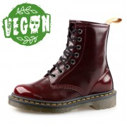 boty 8 dírkové Dr. Martens - Cambridge Brush - Vegan 1460 - Cherry Red - DM23756600