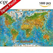 Jigsaw Puzzles 1000 Piece - Animals of the World Map Wooden Puzzle for Adults Kids