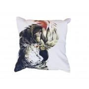 Kussen wit met gekleurde papegaai print velvet