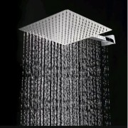 EASY RAIN 10x10 Inch Round Ultra Thin Shower Head with 15 Inch Square Shower Arm-Set of 2