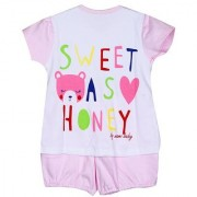 Solid Chest Printed Night Suit - L.Pink ( 3-6 Month)