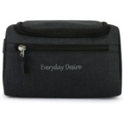 Everyday Desire Hanging Fabric Travel Toiletry Bag Organizer and Dopp Kit Travel Toiletry Kit(Black)