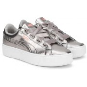 Puma Vikky Stacked Ribbon P Sneakers For Women(Grey)