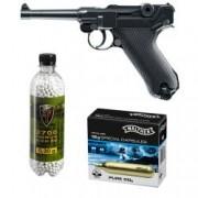 Set pistol airsoft 2 jouli + 10 capsule CO2 + flacon 2700 buc bile 0.30 grame Umarex Legend P08 full metal