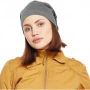 Vimal-Jonney Dark Grey Cotton Beanie Cap For Women