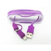 Cablu De Date 2 In 1 Iphone 5/6 + Micro Usb Mov pt Telefon Tableta