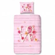 Good Morning Capa de edredão 5354-P LOVE 135x200 cm rosa
