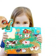 Toy Cubby Kids Toddler Wooden Pegged Large Farm Animals Puzzle Board Set- 2 to 4 inches Farm Animals puzzle piece