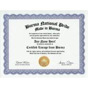 Burma Burmese National Pride Certification: Custom Gag Nationality Family History Genealogy Certificate (Funny Customized Joke Gift - Novelty Item)
