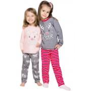 Oda karácsonyi lányka pizsama rénszarvassal, szürke 104
