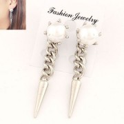 BAGISIMO Náušnice bílé perly s visacími hroty
