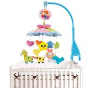 Huihaozi Baby Boy & Girl Bedding Crib Musical Mobile With Hanging Rotating Soft Colorful Plush Dolls Characters Electric Music Box 20 Melodies