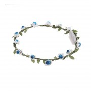 Luz LED Flora Corona Floral mujeres cabezadas resplandeciente Diadema Flor de fiesta Azul