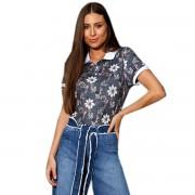 Camisa Polo Seeder Feminina Floral Cinza Chumbo