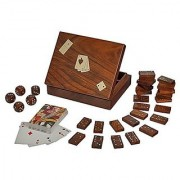 Fine Craft India 3 in 1 Wooden Game Set Domino Tiles and Dice Games with 1 Standard Decks